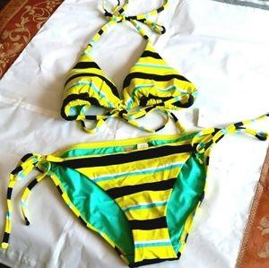 NWT^Yellow striped string bikini*size M